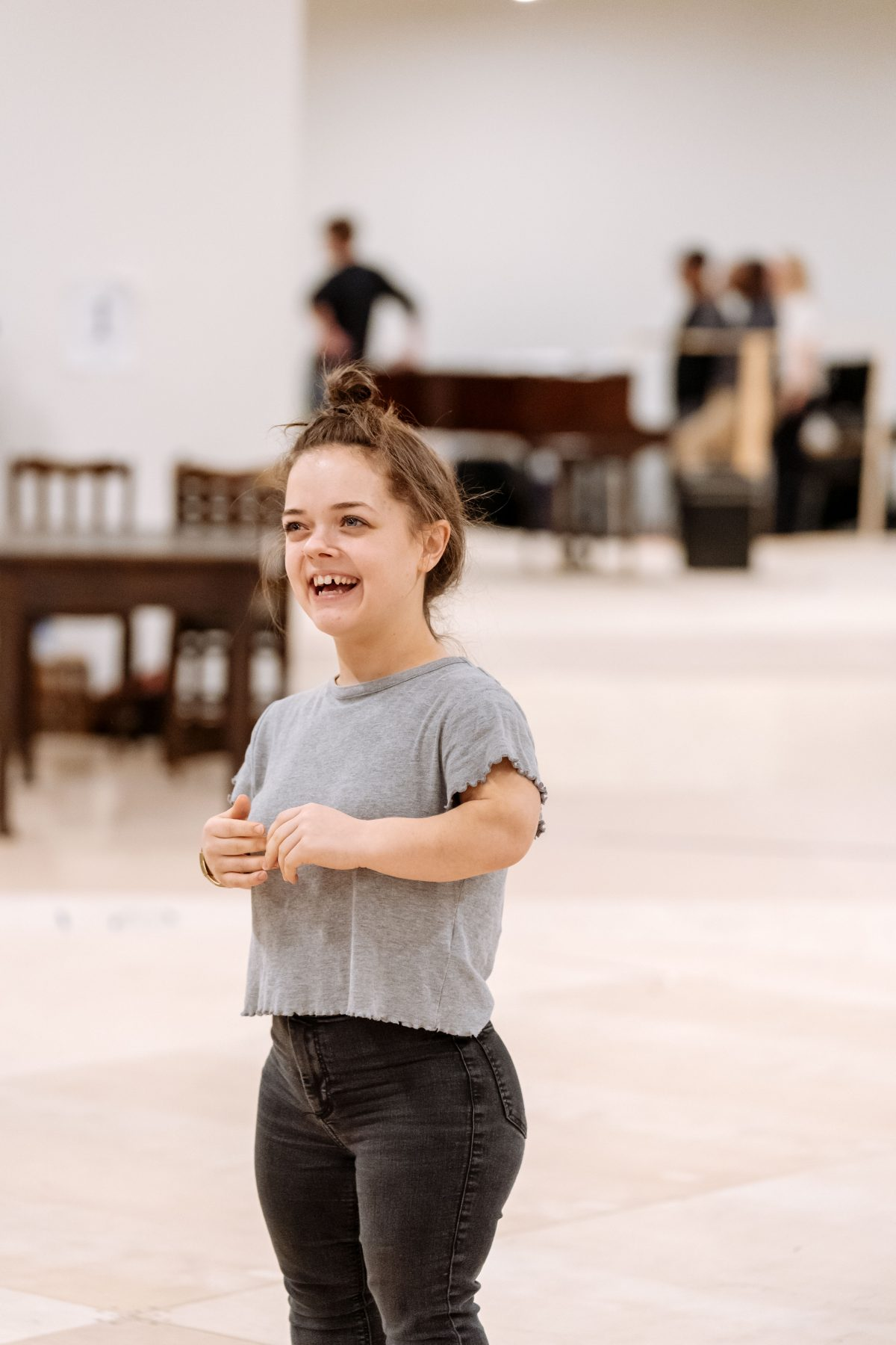 Francesca Mills in rehearsals for The American Clock