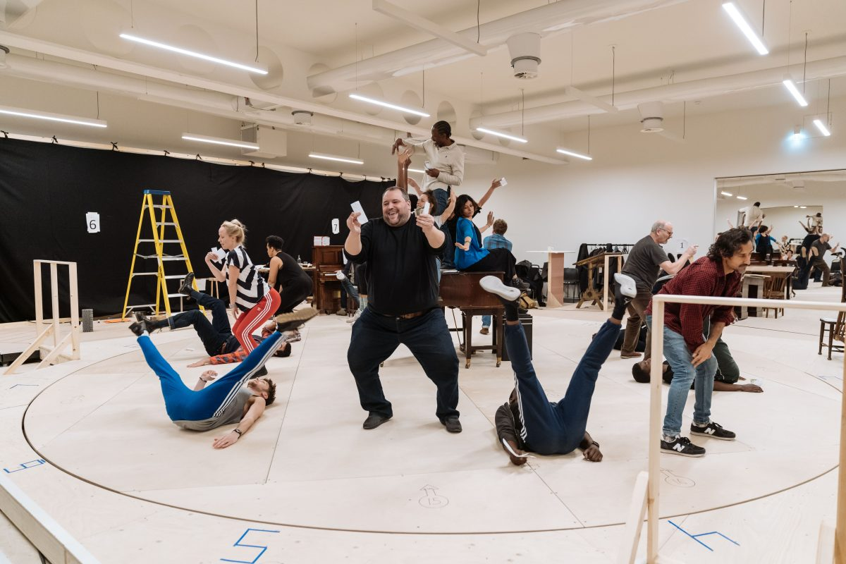 The company in rehearsals for The American Clock